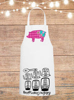 Floral Harlequin Pig Cheat Sheet Apron