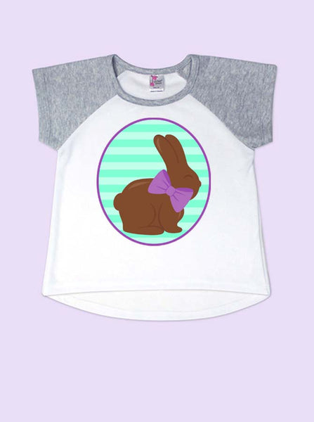 Girls Chocolate Easter Bunny Short Sleeve Toddler Raglan