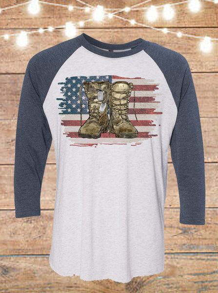 Hand Drawn American Flag with Army Combat Boots Raglan T-Shirt
