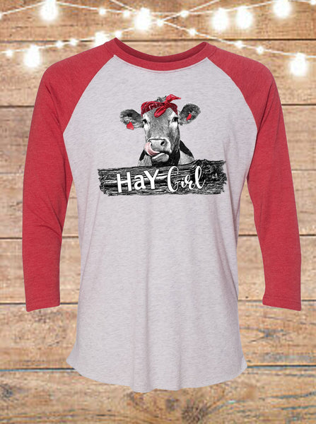 Hay Girl Cow Raglan T-Shirt