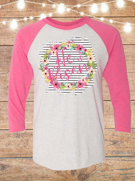 He Is Risen Floral Easter Raglan T-Shirt