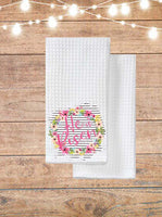 He Is Risen Floral Wreath Kitchen Towel