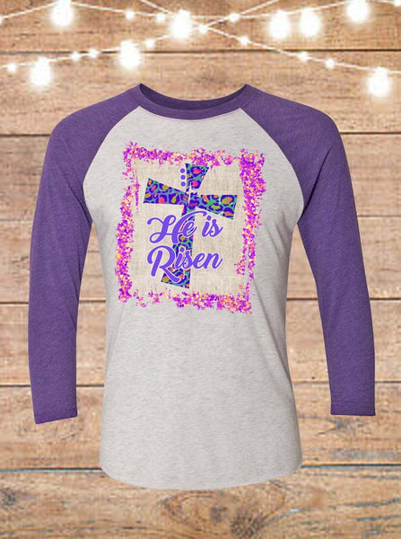 He Is Risen Purple Raglan T-Shirt