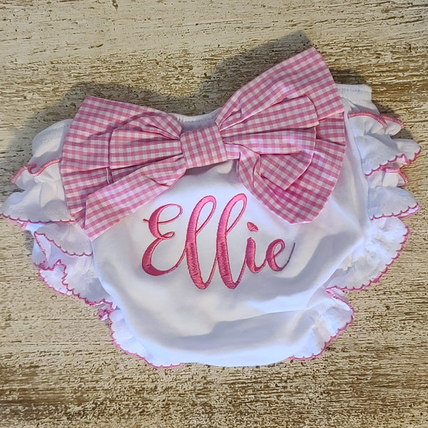 Monogrammed Baby Bloomers with Pink Gingham Bow