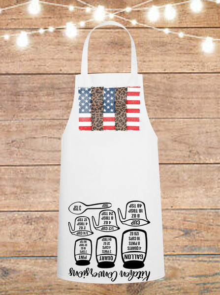 Leopard American Flag Cheat Sheet Apron