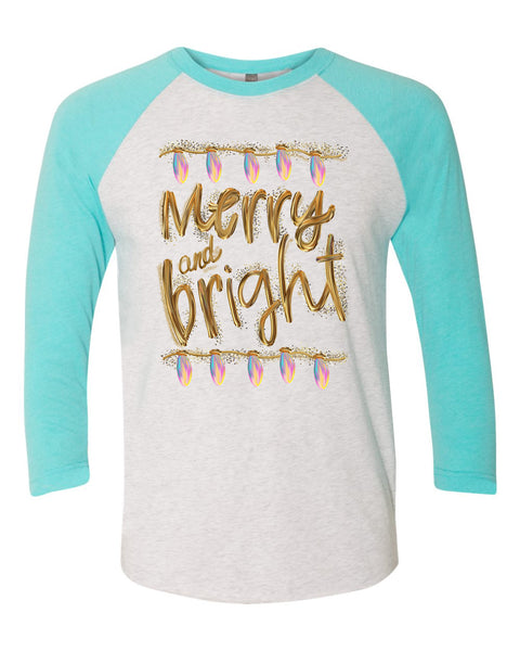 Merry and Bright Gold and Lights Christmas T-Shirt