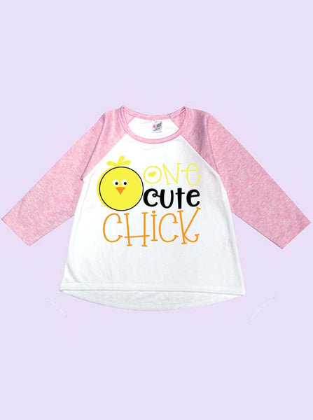 One Cute Chick Long Sleeve Toddler Raglan T-Shirt