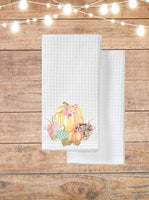Pastel Vintage Pumpkins Kitchen Towel
