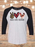 Peace Love Chickens Raglan T-Shirt
