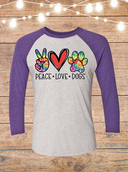 Peace Love Dogs Raglan T-Shirt