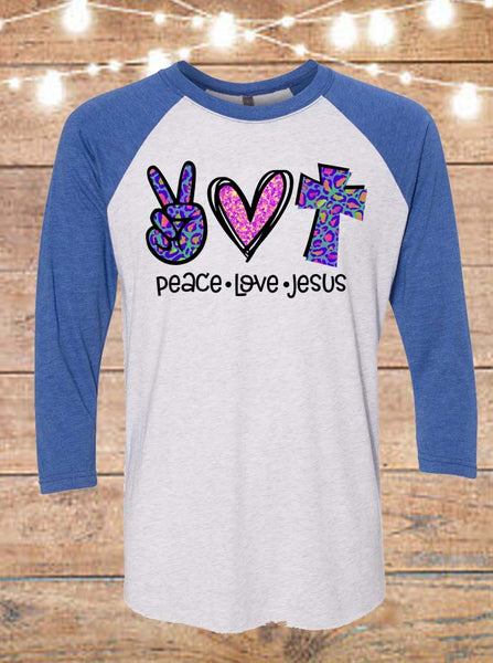 Peace Love Jesus Raglan T-Shirt