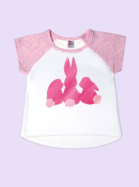 Pink Bunnies Easter Short Sleeve Toddler Raglan