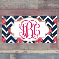 Pink and Blue Chevron Floral License Plate