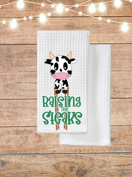 Raising The Steaks Cow Kitchen Towel