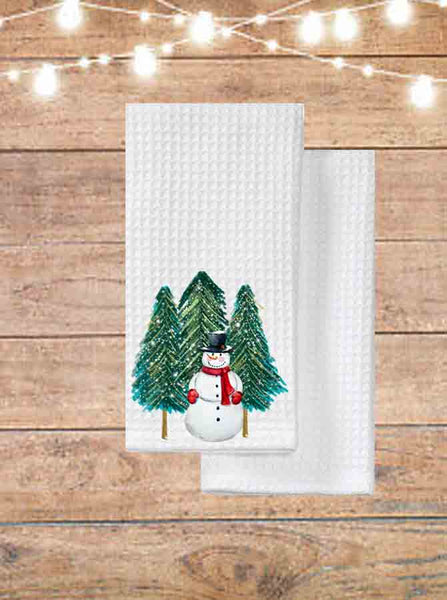 Snowman With Trees Kitchen Towel