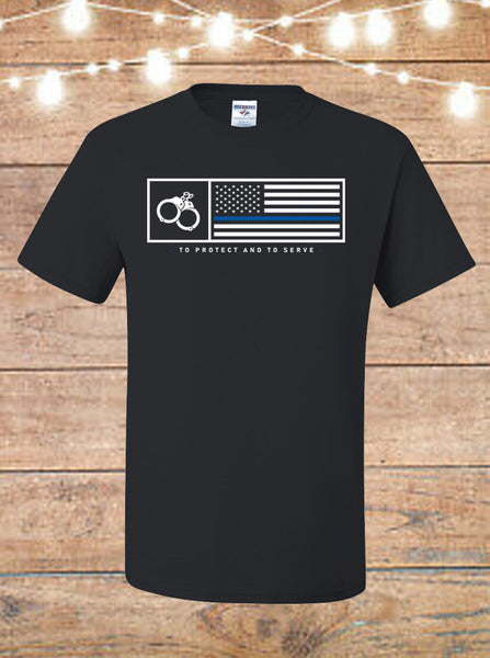 Thin Blue Line To Serve And Protect T-Shirt