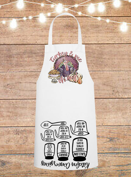 Turkey And Pie Oh My Thanksgiving Cheat Sheet Apron