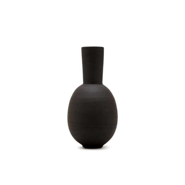 Helios Vase in Black Stoneware