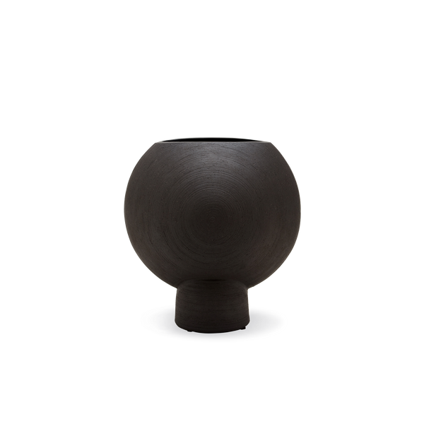 Open Hero Vase in Black Stoneware