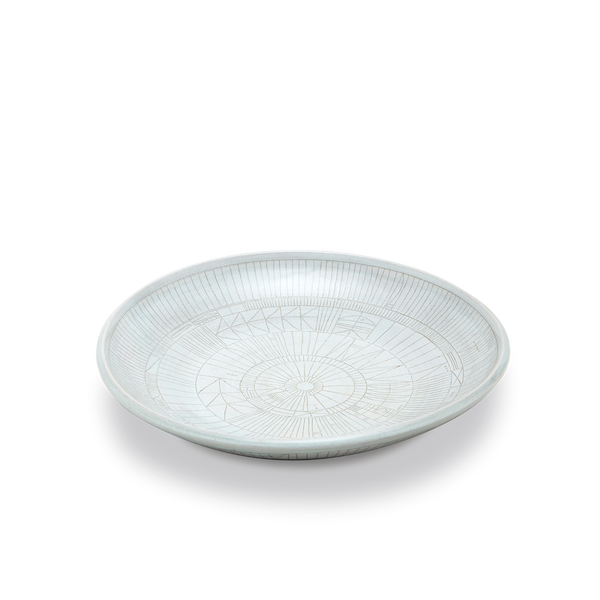 Scribe Low Bowl in White Glaze