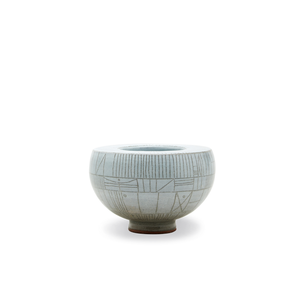 Scribe Wide Lipped Bowl in White Glaze