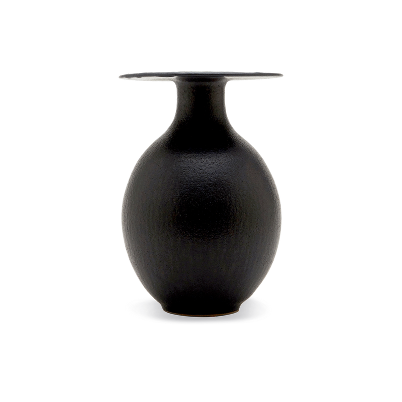 "13"" Lipped Ovoid Vase in Pitch"