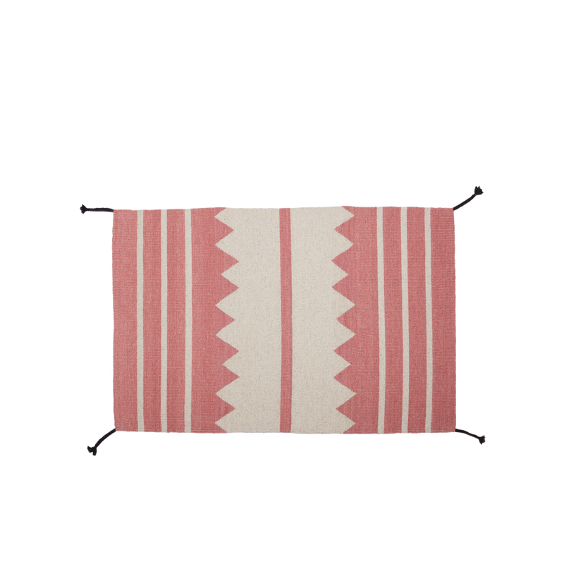 Zapotec Flat Weave Rug in Pink/White