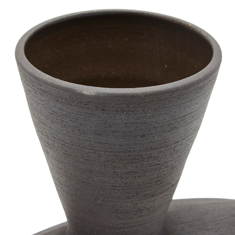Low Chimera Vase in Black Stoneware