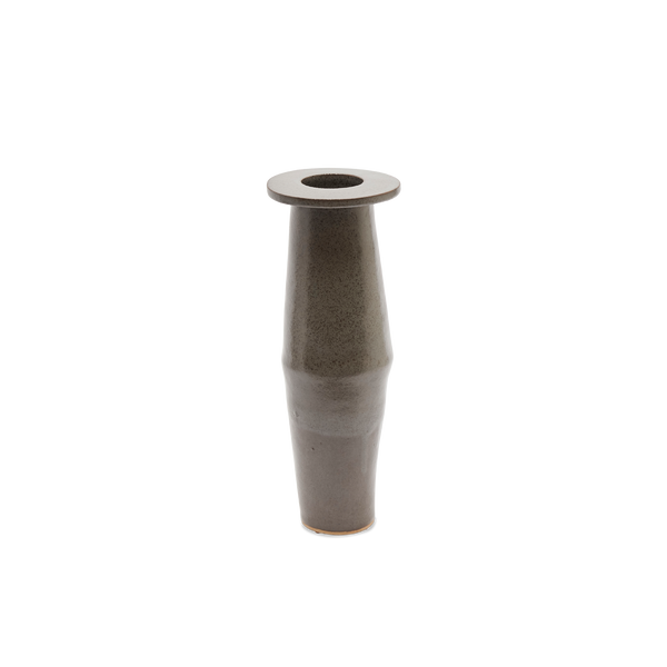 Tall Saucer Vase in Grey Shino