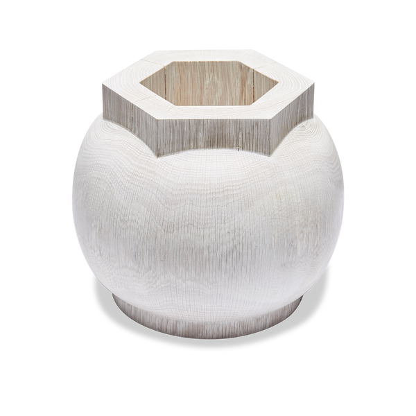 Bleached Oak Short Hex Open Vessel