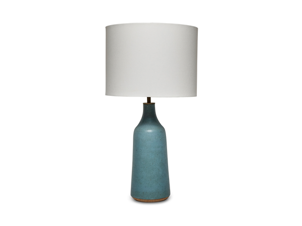 Poured Bottle Lamp in Soft Blue