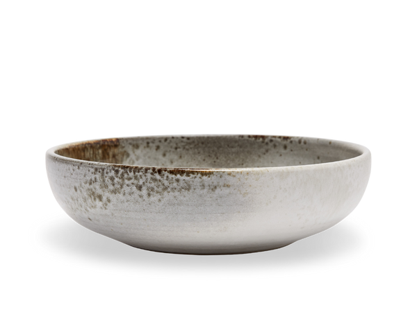 Serving Bowl #14 - White and Brown