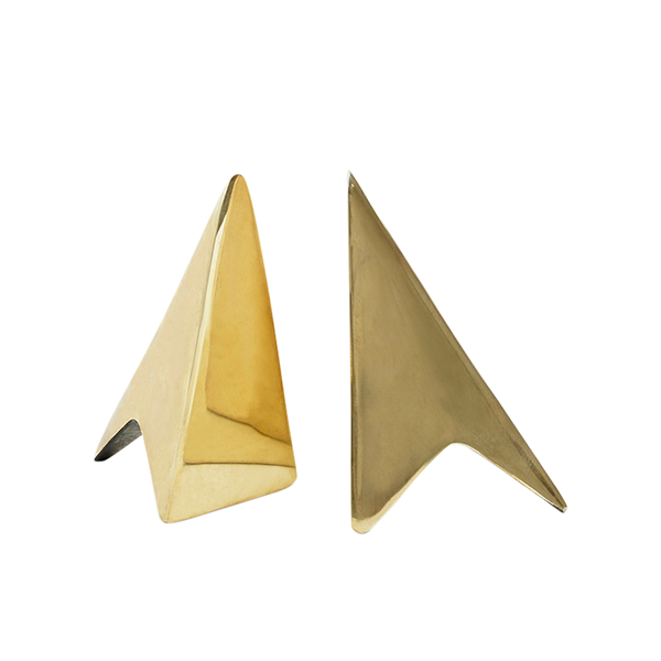 Brass Triangle Bookends