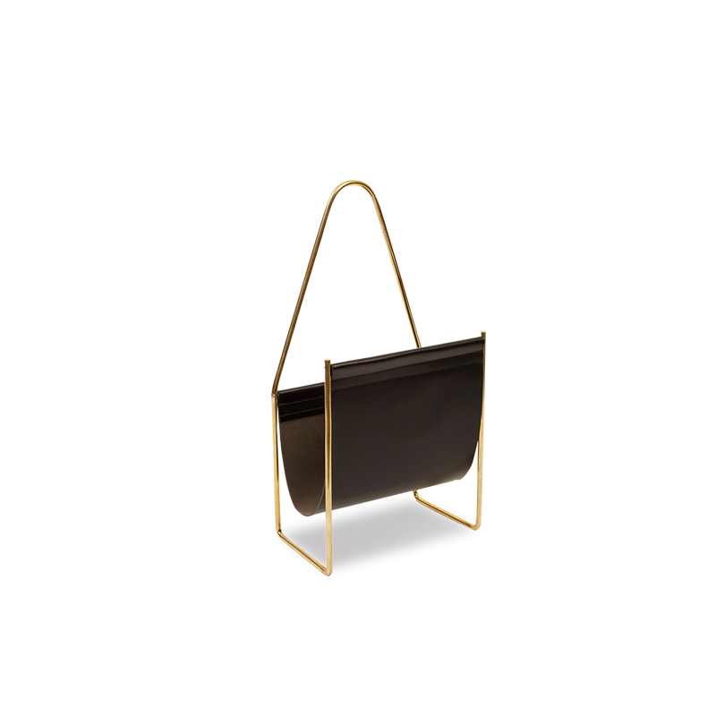 Brass and Leather Magazine Holder