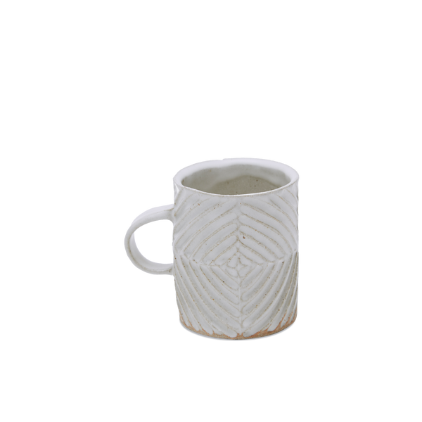 White Carved Diamond Striped Mug