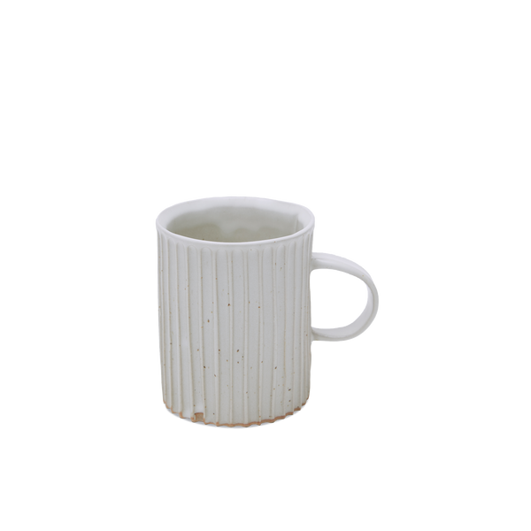 White Carved Striped Mug