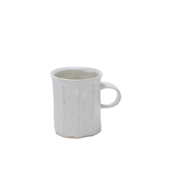 White Carved Flat Stripe Mug