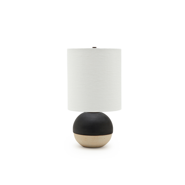 Mini Orb Lamp in Black + White Glaze