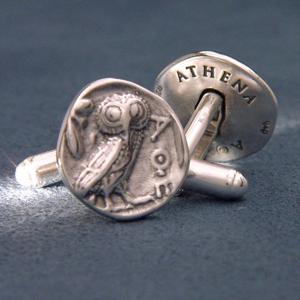 Athenian Owl Sterling Silver Cuff Links