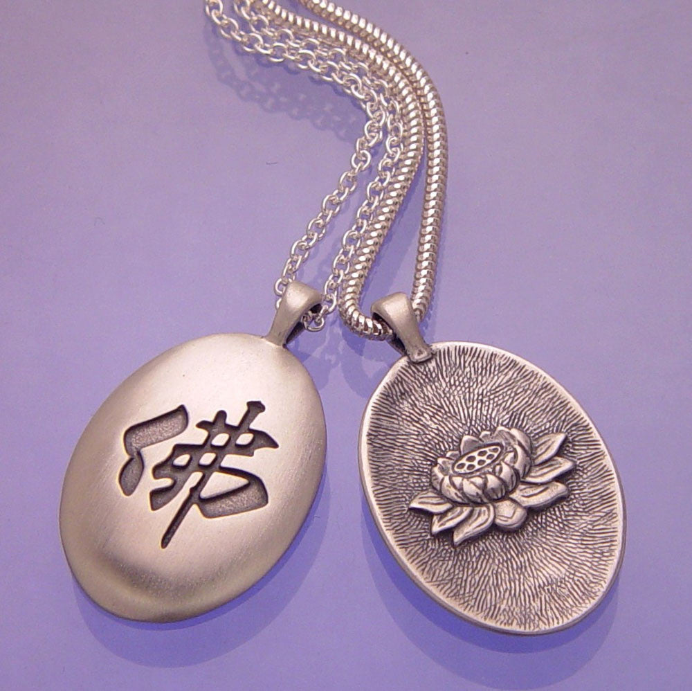 Buddha & Lotus Sterling Silver Necklace