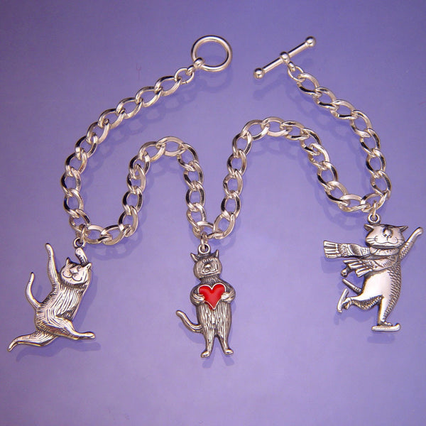 Gorey Cat Charms Sterling Silver Bracelet