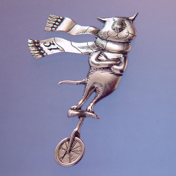 Gorey Cat On A Unicycle Sterling Silver Pin