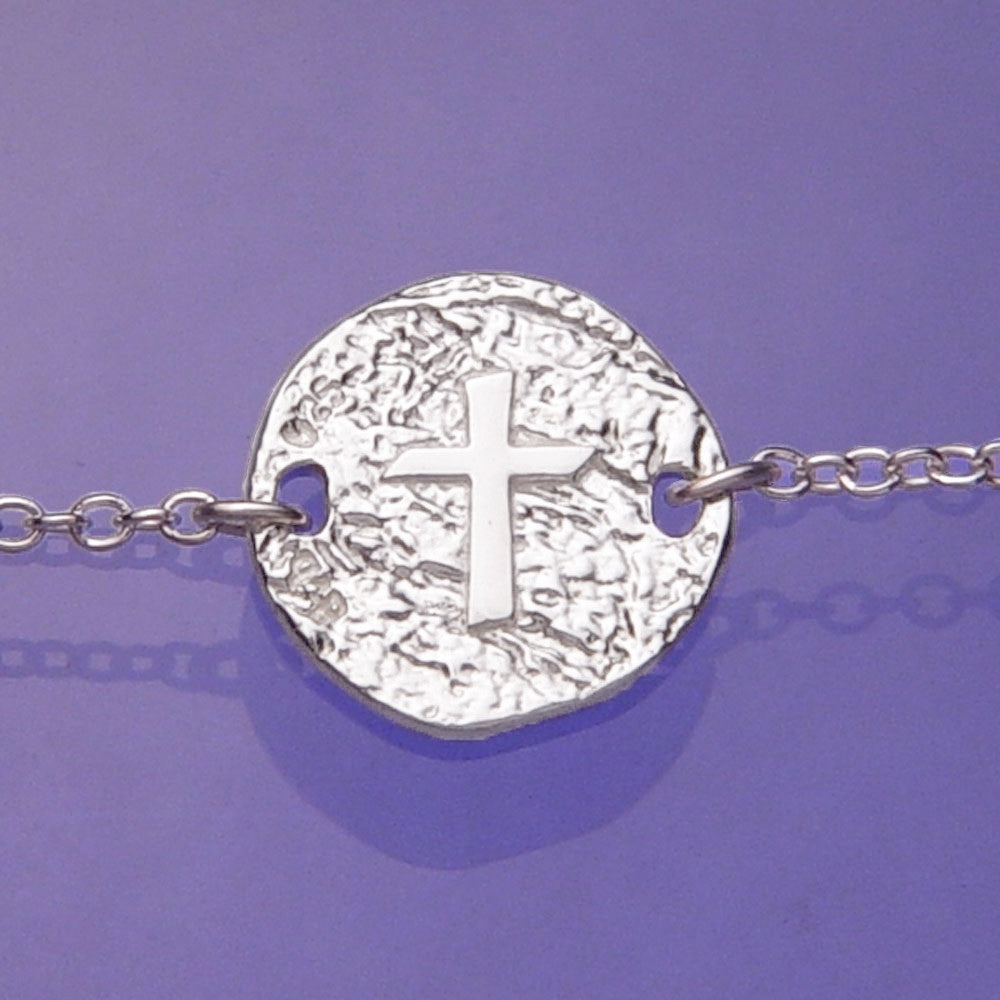 Cross Symbol Sterling Silver Christian Bracelet
