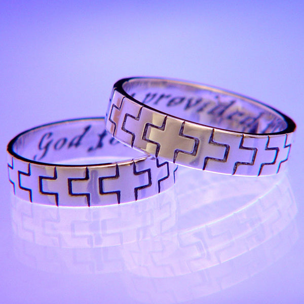 English God For Me Provided Thee Sterling Silver Poesy Ring