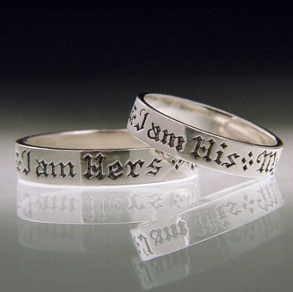 English I Am His Sterling Silver Poesy Ring