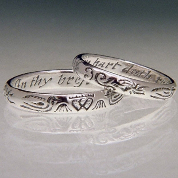 English My Heart Doth Rest Sterling Silver Poesy Ring