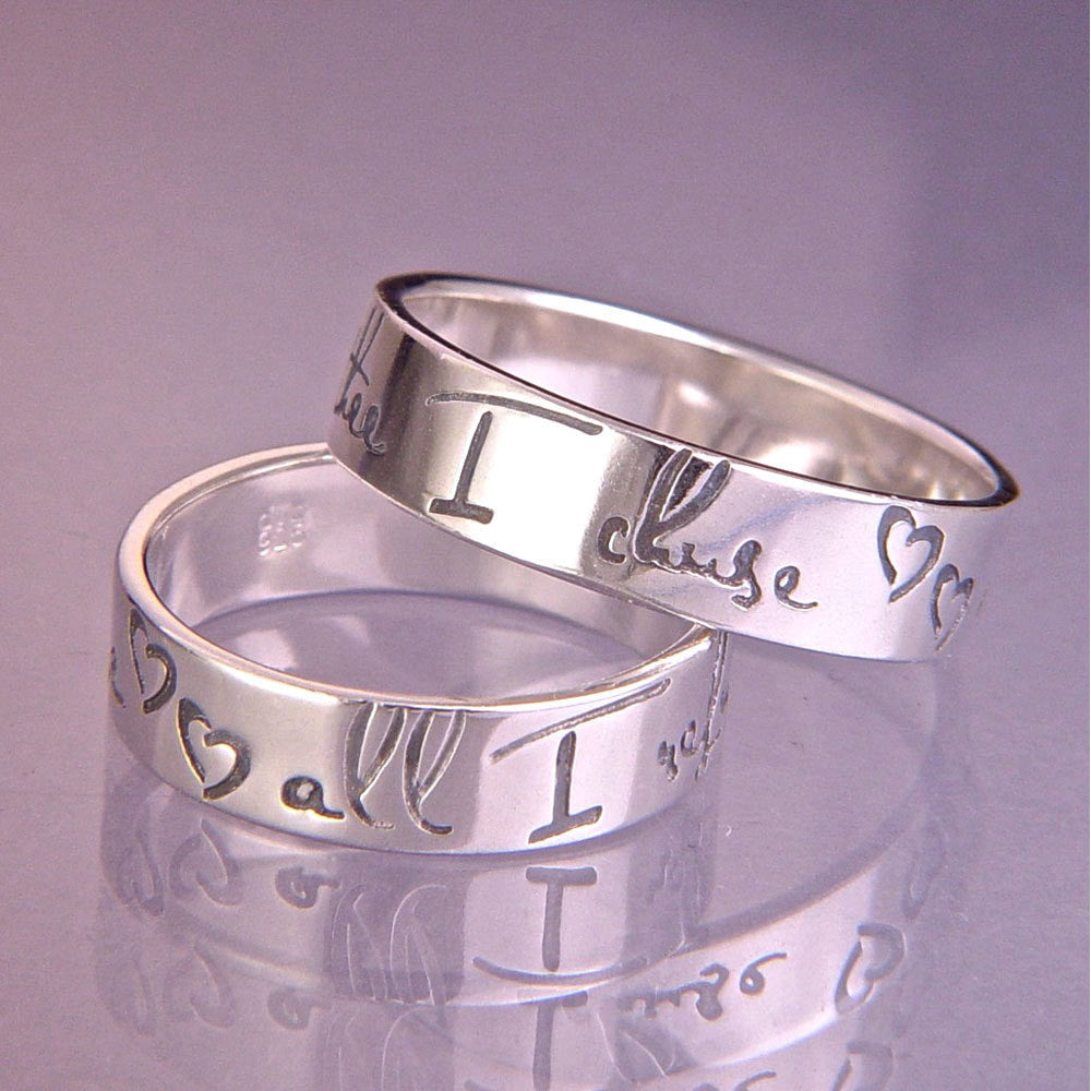 English Thee I Chuse Modern Sterling Silver Poesy Ring