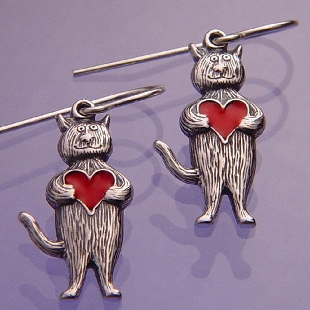 Gorey Heart Cat Sterling Silver Earrings