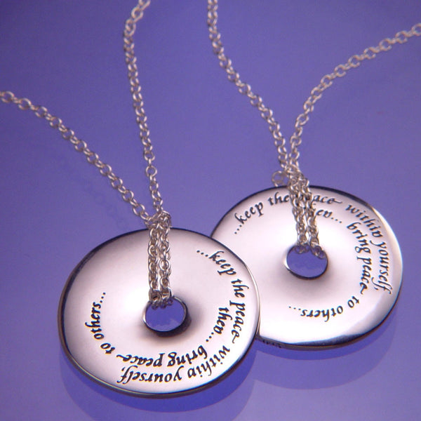 Keep The Peace Within Yourself Sterling Silver Kempis Necklace