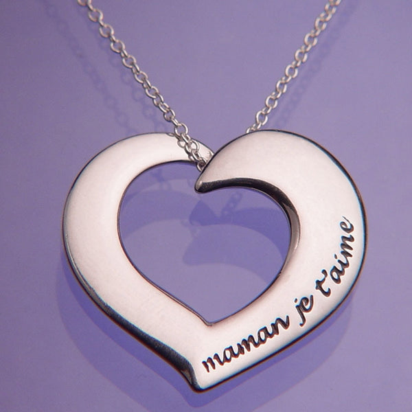 Maman Je T'aime Sterling Silver French Necklace